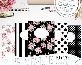 Shabby Rose - Printable Binder Cover & Insert - 8.5x11 - Set of 5 - PDF - Instant Download