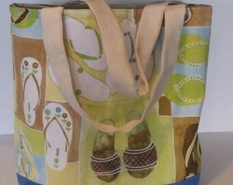 Reversible Canvas Beach/Tote  Bag
