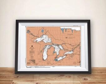 Great Lakes Map, Boating Gift, Sailing Art, Great Lakes, Great Lakes Art, Lake House Decor