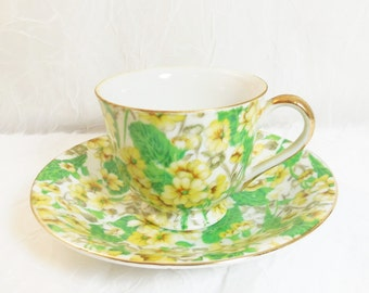 Merit Floral Cup & Saucer - Demitasse  - Occupied JAPAN 1940's