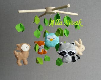 Forest Baby Mobile, Woodland Baby Mobile, Crib Mobile, Forest creatures mobile, Hanging mobile, Baby mobile woodland, Forest nursery