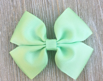 Mint Green Stacked Grosgrain Ribbon Hair bow for Girls Back to School Everyday wear on hair clip or headband