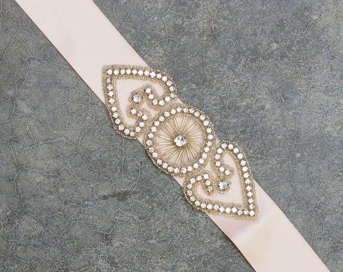 Blush Pink Ribbon Belt Neutral Satin Crystal Art Deco Double Hearts Embellishment Handmade Sash 344