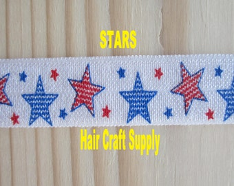 Red and Blue STARS PRINT ELASTIC - From 1 - 5 yards