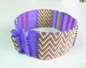 Lilac Limetta Peyote Cuff beaded bracelet pattern: Instant Downloadable Pattern PDF File