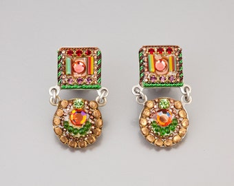 Colorful two piece earrings, Silver plated brass metal earrings with Swarovski crystals and beads, handmade by Adaya Jewelry