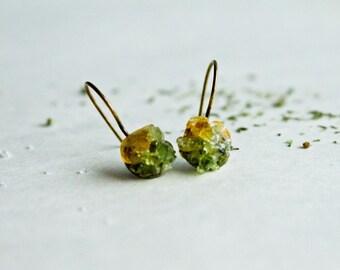 Citrine and Peridot earrings - Forest Boho prosperity earrings