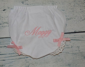Monogrammed BLOOMERS Personalized Diaper Cover with Bows