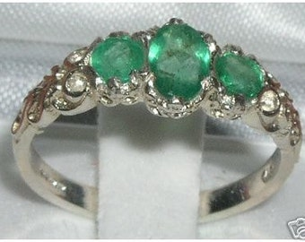 Silver Emerald Ring | Sterling Silver Ring | Sterling Silver Emerald Ring | Emerald Trilogy Ring | May Birthstone | Vintage Style Ring