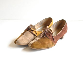 Suede Oxford Heels Sz 8 //  60s Spectator Shoes  //  CALICO CAT