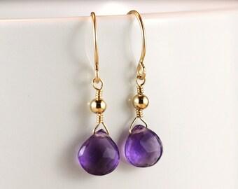 Purple Amethyst Heart Briolette Gold Filled Earrings - Nadia