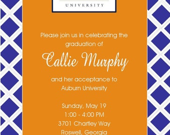 Orange and Blue Auburn Invitations and White or Optional Lined Envelopes, Set of 10