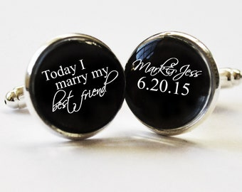 Custom Cufflinks - personalized mens cufflinks -grooms gift- wedding cuff links - weddings-  mens accessories - mens gifts
