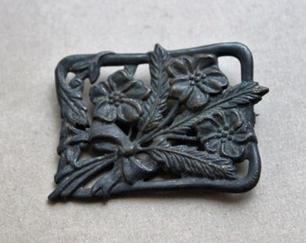 Antique Edwardian Mourning Flower Bouquet Brooch
