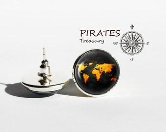 Handmade Old World Map stud earrings, vintage world map post earrings, World map earrings, men and women accessories