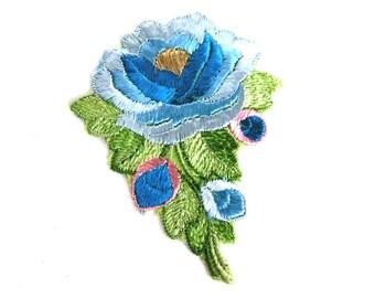 Flower applique, 1930s vintage embroidered applique. Vintage floral patch, sewing supply, Antique Silk Applique. #64AGC8K2C