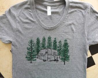 Ready to Ship -Men's/Unisex Screen Printed VINTAGE Camper Tri-blend track t-shirt, Size LG