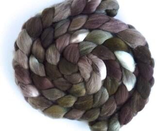 Hand Spinning Roving, Organic Polwarth  - Hand Dyed, Fiesta Brown
