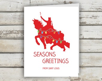 St Louis Seasons Greeting, Saint Louis, St Louis, Art Hill, St Louis Holiday Card, STL, Greetings from St Louis, Christmas Card