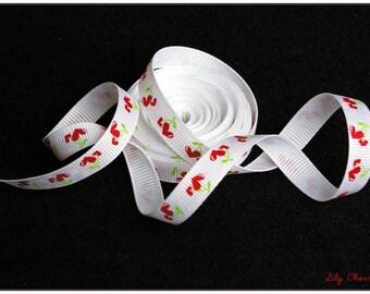 1 meter of Ribbon white cherry heart 10mm