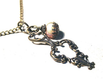 Antique Gold Vintage Brass and Fresh Water Pearl Pendant