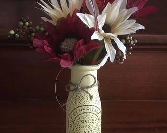 Vintage Antique Distressed Glass Milk Bottle with fake flowers