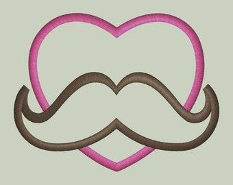 Mustache Heart  Applique Design