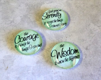 Round Glass Magnets Set of 3 God Grant Me The Serenity Prayer Encouragement Green or Rose