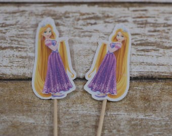 Rapunzel cupcake topper, Rapunzel cupcake picks,Princess birthday decoration, Rapunzel