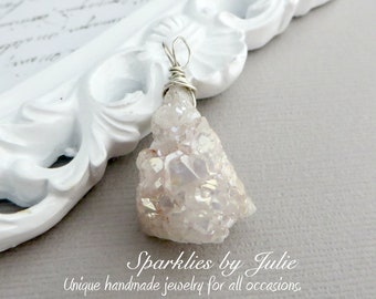 Druzy Drop Pendant - AB Coated Crystal Quartz Druzy Stone, White Geode Shard, Wire Wrapped in Sterling Silver, OOAK, One-of-a-Kind