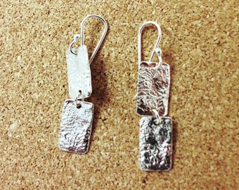 Modern geometric Silver Earrings-Reticulated Texture Sterling Silver -Double Rectangle Sterling Silver Dangle Earrings - ElenadE