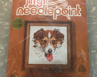 "1978 Jiffy Needlepoint Kit - ""Laddie"" - Dog Needlepoint Kit"