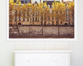 """Autumn in Paris Photography // Paris, Bedroom Decor // Paris Print French Decor for a modern home // Large Print  - """"Parisians on the Seine"""""""