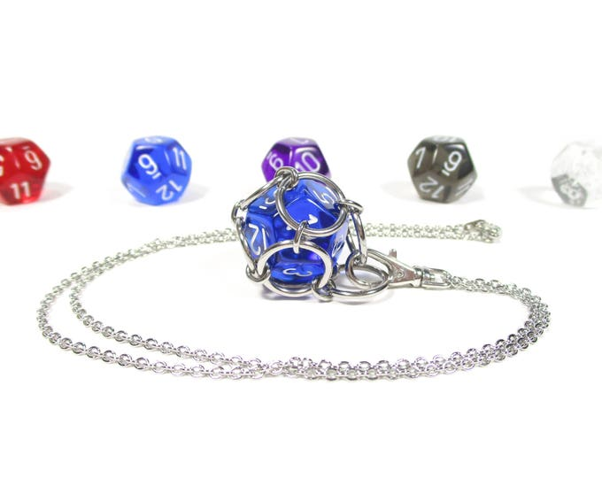 Removable Twelve-Sided Dice Necklace - Choice of Colors (Translucent d12s) - Stainless Steel Chainmaille