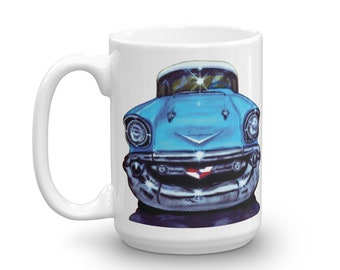 Chevy Coffee Mug 1957 Chevrolet Bel Ari, Chevy Gifts Car Lover, Classic Car Gifts Father's Day Gift Dad's Garage Car Shop Owner Cool Car Cup