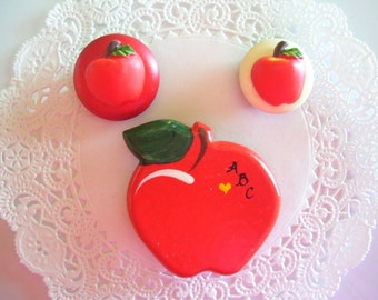 Apple magnets (96) Teacher Gift - Repurposed jewelry