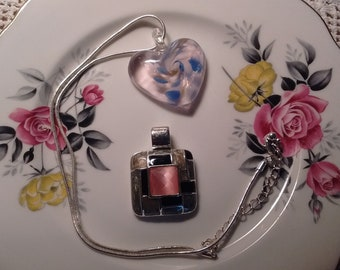 Art Glass Heart Pendant/Silver Chain/ Pink/Black/Silver Enamel Pendant Duo: