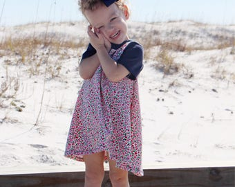 Floral A Line Girls Dress - Baby Girl Hi Low Dress - T-Shirt Dress - Tunic Dress - Trendy Baby Girl Dress - Color Block Dress - Fall Dress