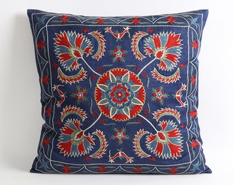 Navy blue suzani throw pillow cover, blue pillow cover accent pillow toss pillow suzani pillow floral pillow decotaive pillows for couch