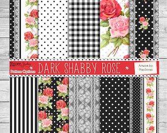 Dark shabby chic rose patterns Vinyl HEAT TRANSFER or ADHESIVE, htv or permanent adhesive vinyl printed vinyl