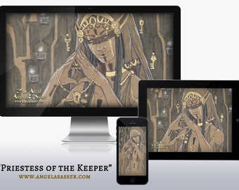 Priestess of the Keeper Woman with Keys Tarot Inspired Dark Fantasy Art Wallpapers for Desktop, Phone, and Tablet