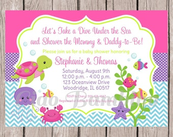 PRINTABLE Under the Sea Invitation for Baby Shower / Pink, Purple and Blue Under the Sea Party for Baby Girl / You Print - 0022