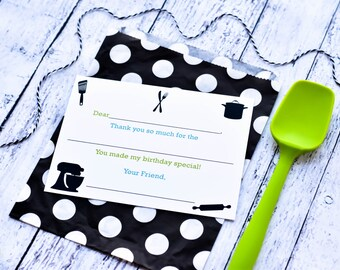 Cooking Fill In the Blank Thank You Notes / Kids Thank You Notes / Childrens Kitchen Thank You Note Cards / Little Chef Fill In The Blank