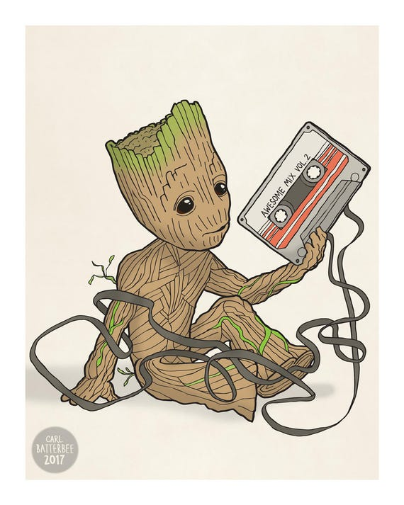 baby groot guardians of the galaxy illustration art print. Black Bedroom Furniture Sets. Home Design Ideas