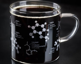 Coffee Chemistry Mug | But First, Coffee Glass Mug, Science Gift, Caffeine Mug, Coffee Cup, Nerdy Mug, Gift for men, Gifts for her