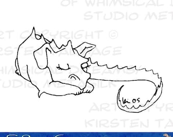 Sleepy Dragon - colorable printable dragon for cards or crafts (Line art by Kir Talmage)
