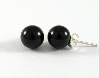 Onyx Stud Earrings 8mm., Onyx with Silver Post Earrings, Onyx Earrings, Classic Earrings, Stone Earrings