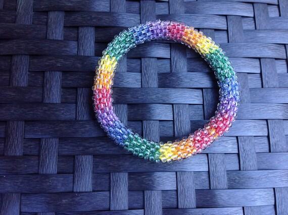 Frosty glass bead crochet bangle