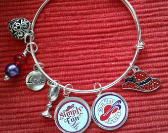 RED Hat Society Seven Charm Bangle Bracelet