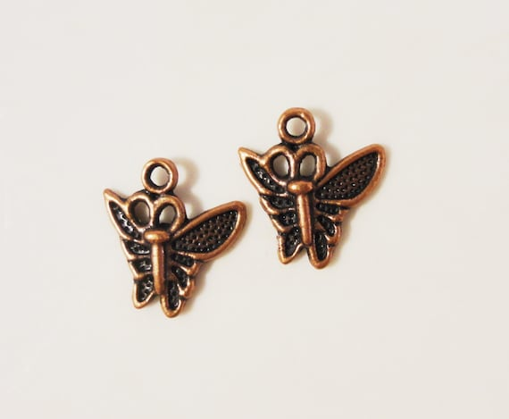Copper Butterfly Charms 15x13mm Antique Copper Tone Metal Small Butterfly Drop Flying Insect Charm Pendant Jewelry Making Findings 10pcs